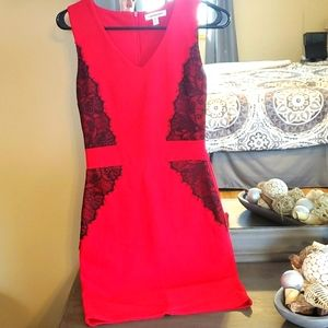 Red and black lace dress